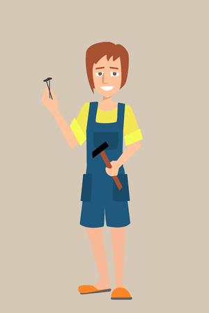 ハンマーと釘の女性キャラクター  イラスト・ベクター素材