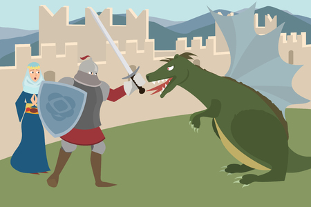 knight  fighting dragon, saving princess vector cartoon