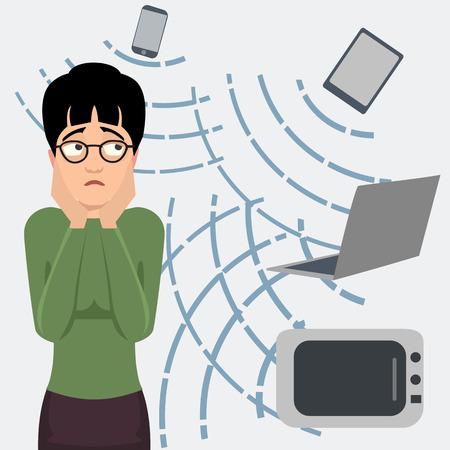persona asustada por dibujos animados de radiación electromagnética Ilustración de vector