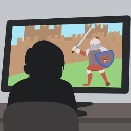 Boy sitting in front of video game screen cartoon vector.