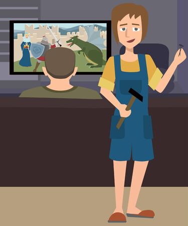 Illustration of a wife and husband playing video games vector.