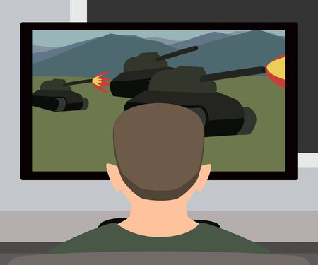 Man playing video game vector cartoon.