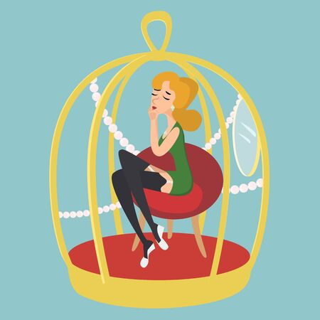 Woman in gold cage funny cartoon Stock Photo