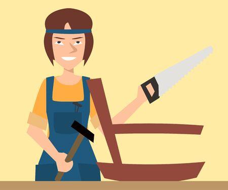 Woman carpenter  character vector cartoon Stock Photo