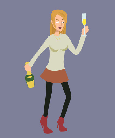 drunk woman character vector cartoon Illustration