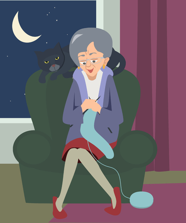 old woman sitting and knitting with cat at night cartoon