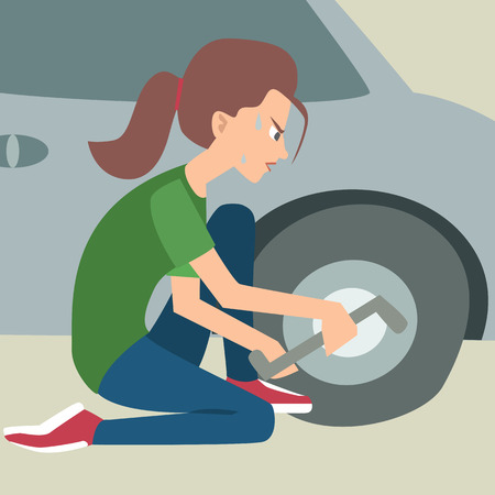 woman changing a flat tire vector cartoon