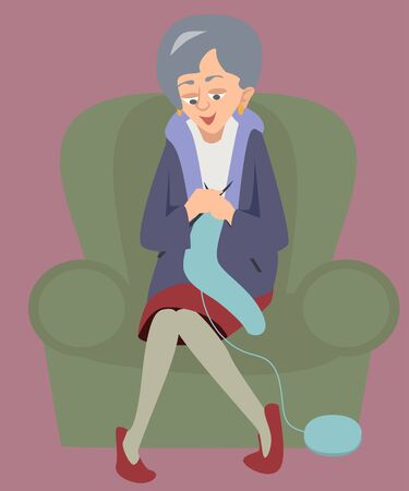 woman sitting in armchair and knitting cartoon Illustration