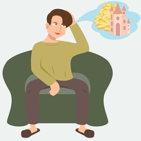 man dreaming about idle life vector illustration 向量圖像