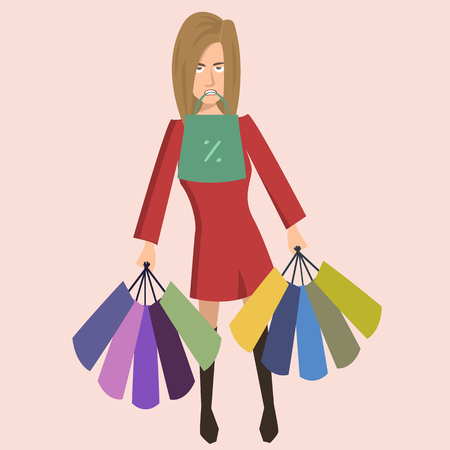shopaholic woman vector cartoon