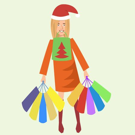 happy woman with shopping bags and christmas hat  - funny vector colorful  cartoon illustration