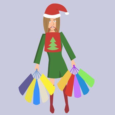müde Frau mit Einkaufstaschen und Weihnachtshut - lustige Vektorkarikaturillustration