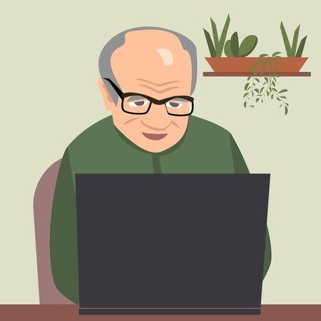 Oldman, der Computer-Vektorillustration anstarrt