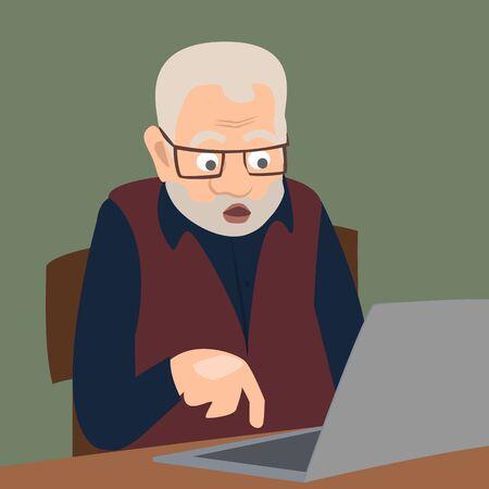 Hoch überraschter Oldman, der Computer anstarrt Illustration