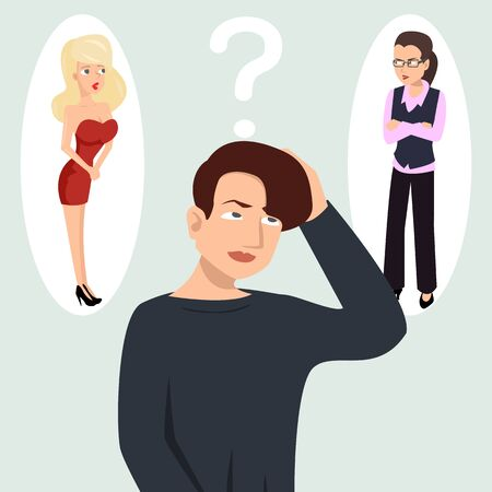 guy thinking about girls vector illustration