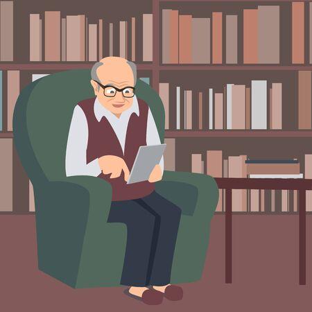ältere E-Reader-Vektorkarikaturillustration