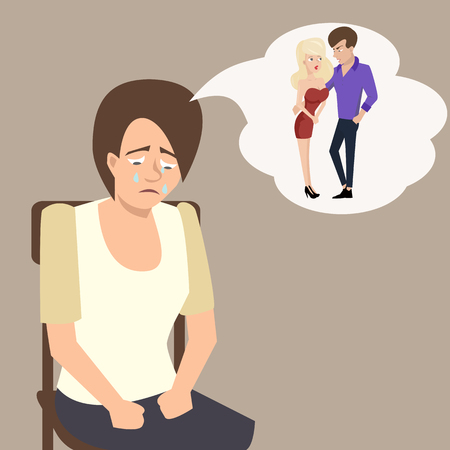 Sad girl imaging her boyfriend with another woman - funny cartoon vector illustration of jealousy