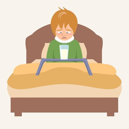Krankes Kind mit unglücklichem Gesichtsausdruck betrachtet das Milchglas, das im Bett sitzt - lustige Karikaturvektorillustration