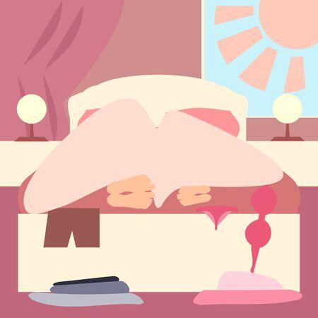 Schlafzimmer morgens mit Paaren unter Decke - lustige vektorkarikatur