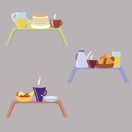 Frühstück auf einem Tablett - Set von drei Mahlzeiten, Vektor-Illustration