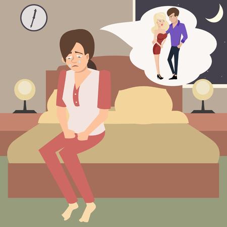schreiende Frau im Schlafzimmer stellt Ehebruch vor - lustige vektorkarikaturillustration der Eifersucht