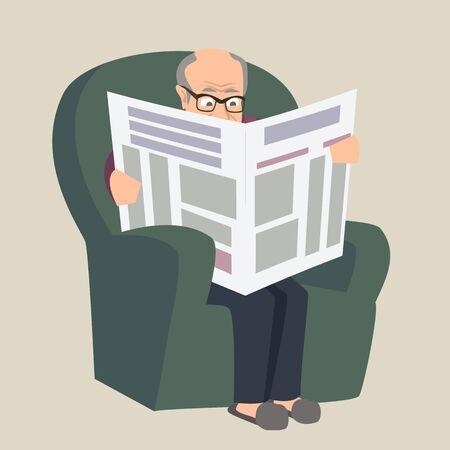 älterer Mann liest Zeitung Vektor-Illustration Illustration