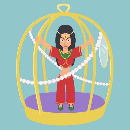 oriental woman in gold cage vector cartoon