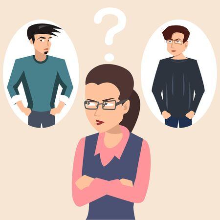 woman choosing boyfriend vector illustration Standard-Bild