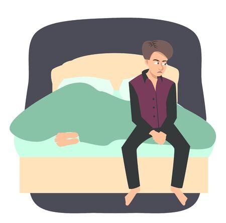 sad man sitting on bed while his wife sleeping cartoon Standard-Bild
