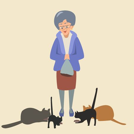 Elderly woman feeds cats vector illustration Standard-Bild