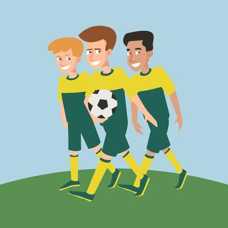 drei junge Fußballspieler - lustige männliche Zeichentrickfiguren. Vektor-Illustration