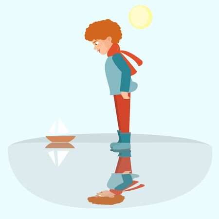 Little boy launching a boat in puddle, vector illustration. Illustration