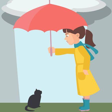 Little girl with umbrella and kitten, vector illustration. Illustration
