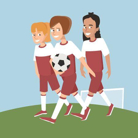 drei Mädchen Fußballspieler mit Ball Vektor Cartoon