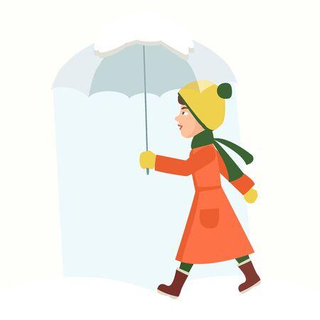 little girl with umbrella at snowfall vector Standard-Bild