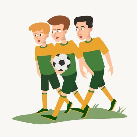 drei Jugendliche mit Ball in Form von Fußballspielern