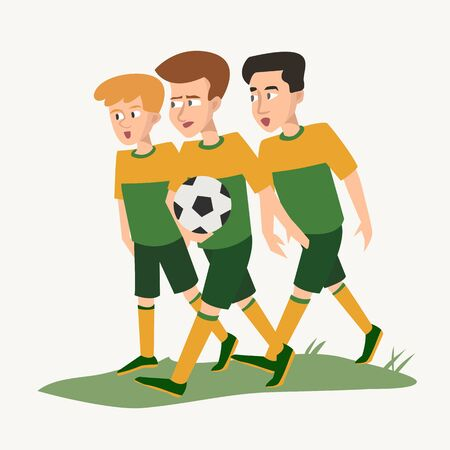 three teenagers with ball in the form of soccer players