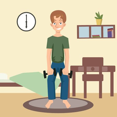 male character exercises with dumbbells at home vector