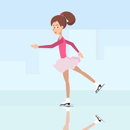 girl ice skating - vector cartoon illustration in flat style Illustration