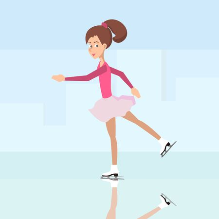 girl ice skating - vector cartoon illustration in flat style Vectores