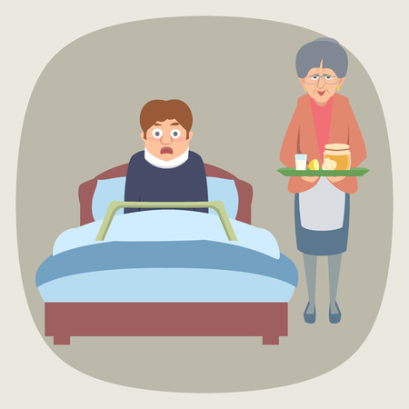 frightened sick  person in bed and grandma bringing home remedie Standard-Bild