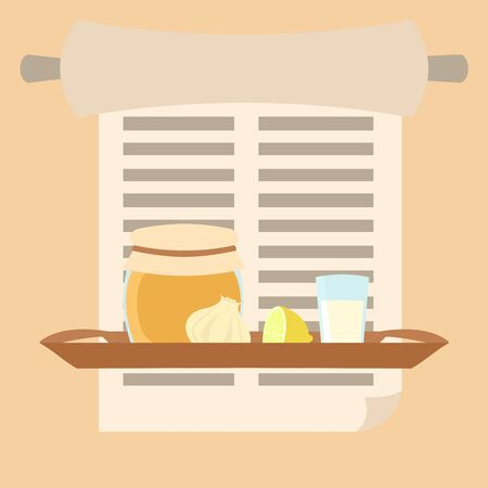 grandmas remedies tray vector illustration