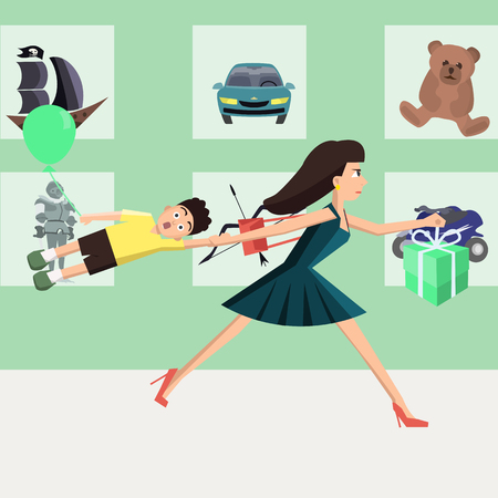 mother running at toy store vector cartoon Stock Photo