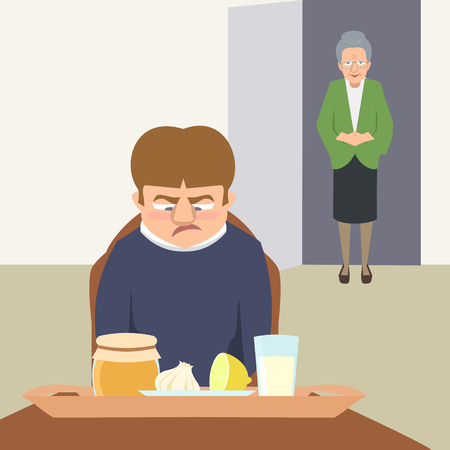 sarcastic person looking at grandmas remedies tray vector