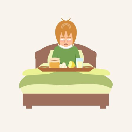 person in bed smiling at grandmas remedies tray vector