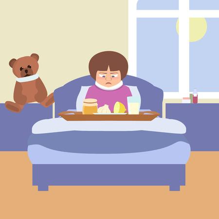 sad kid with grandmas remedies tray vector