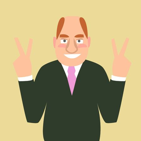 Cartoon man gesturing victory sign vector illustration. Illustration