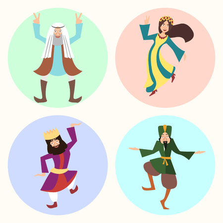 Jewish Purim characters or people in carnival costumes.