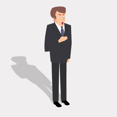 man with surprised face expression vector illustration