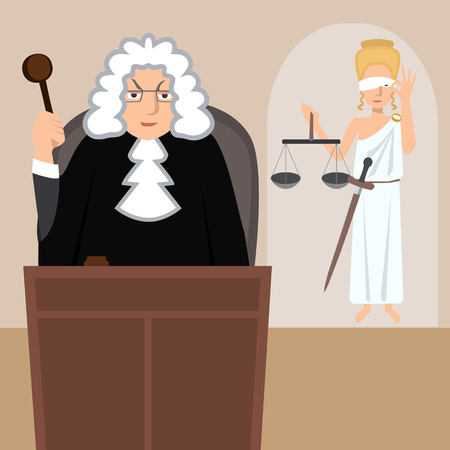 judge in mantle with lady justice at background vector cartoon Illustration